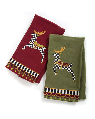 Prancer Guest Towels, 2-Piece Set