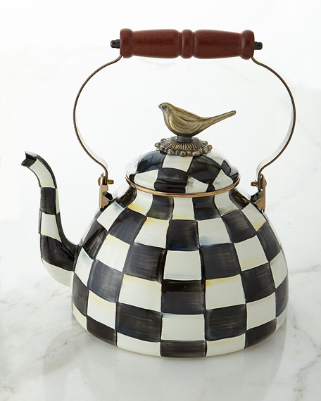 MacKenzie-Childs Courtly Check 3-Quart Tea Kettle with Bird