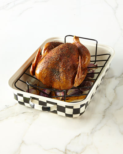 Courtly Check Enamel Roasting Pan with Rack