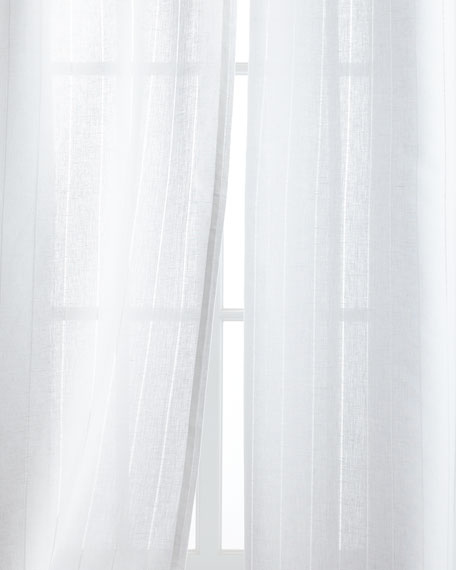 "Each 50""W x 90""L Hemstitch Stripe Curtain"