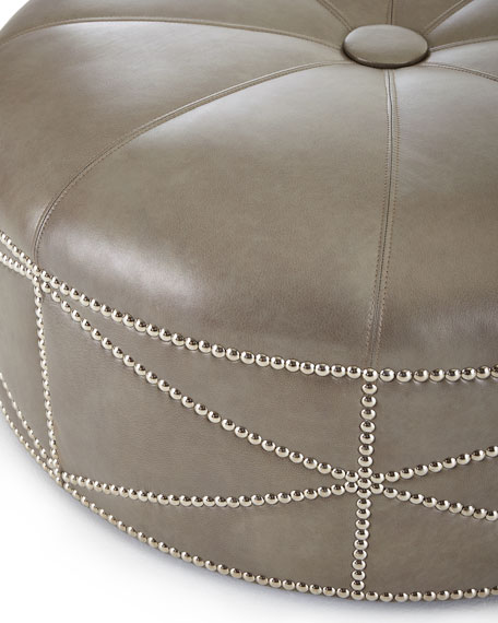 Hollander Round Leather Ottoman