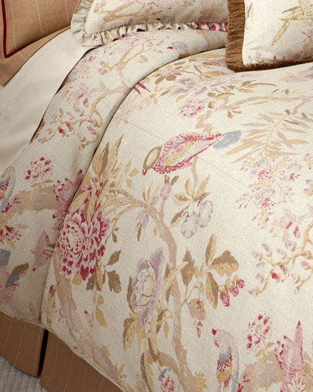King Arielle Floral/Bird Duvet Cover
