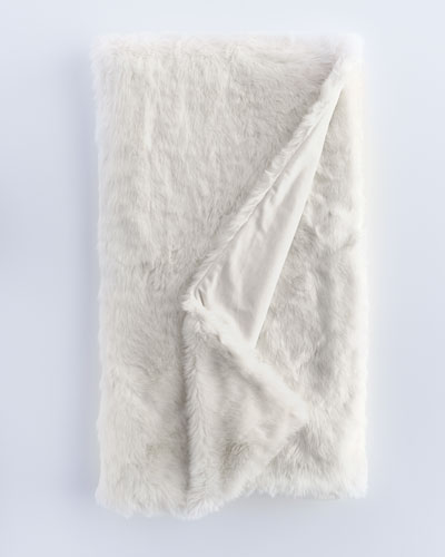 Ivory Faux-Fur Throw