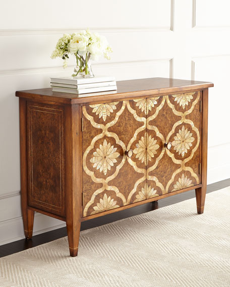 Unique Mother Of Pearl Cabinet: John-Richard Collection Grant Park Mother-of-Pearl Inlay