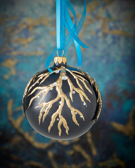 Silver Embellished Navy Blue Opalescent Ball Christmas