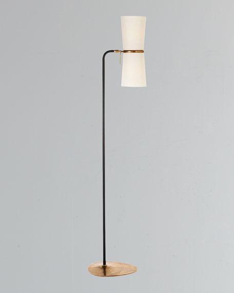 Clarkson Antiqued-Brass & Black Floor Lamp