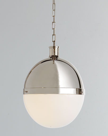 Hicks 2-Light Extra-Large Polished-Nickel Pendant