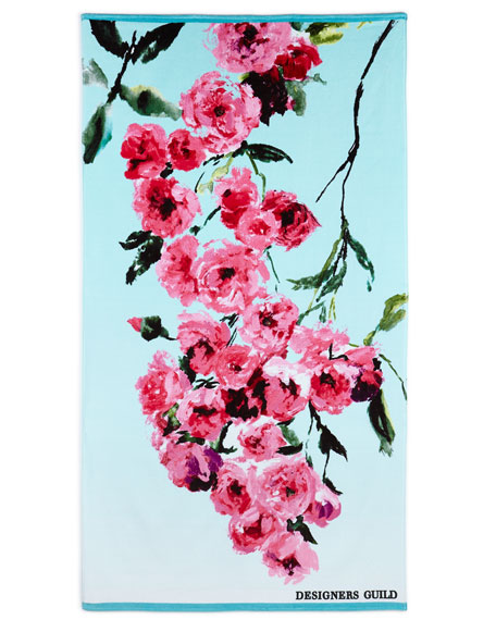 Falling Rose Fuchsia Beach Towel
