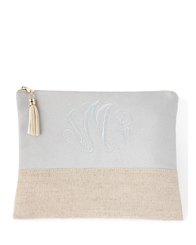 Gray Large Linen Pouch