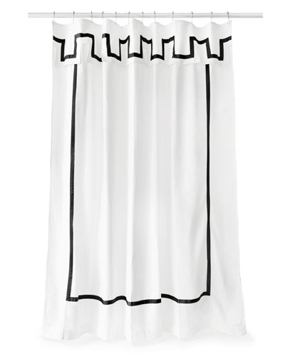 Santorini Black and White Shower Curtain