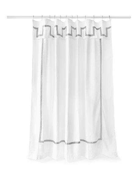 Jonathan Adler Santorini Gray And White Shower Curtain