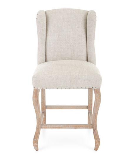 From the linen upholstery to the nailhead trim to the curvy French legs, this Rosemary Linen Counter Stool is romantically designed seating for a French farmhouse or European country style kitchen!