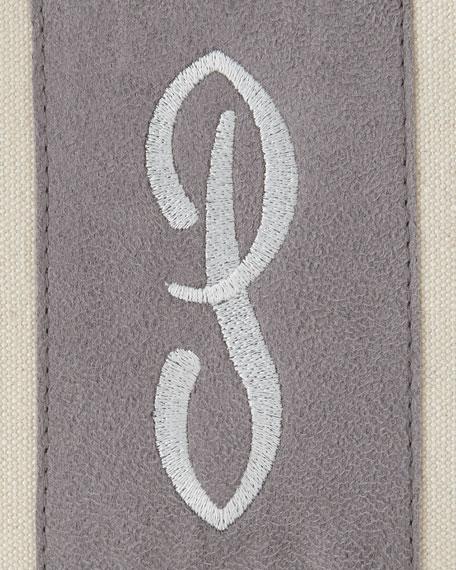 Navy/Orange Monogrammed Tote with Tassel
