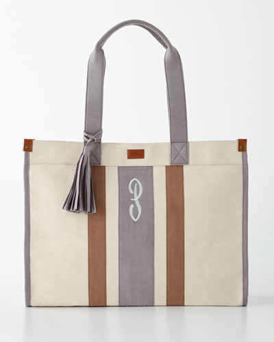 Gray/Tan Monogrammed Tote with Tassel