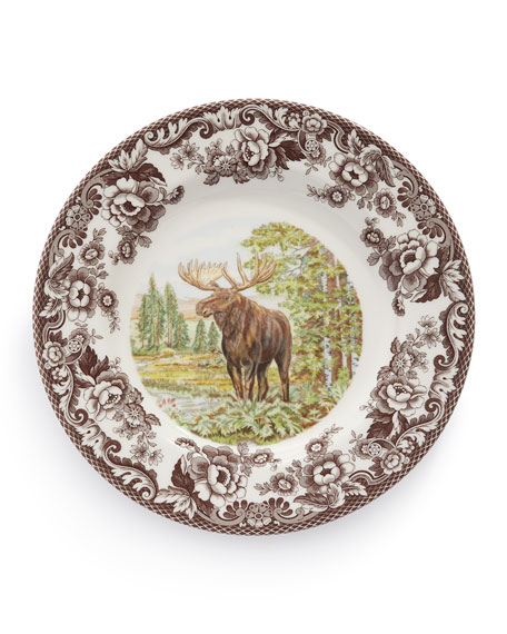 Woodland Moose Dinner Plates, Set of 4
