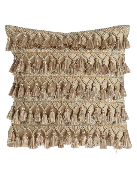 "Gwenneth Tassel-Front Pillow, 16""Sq."