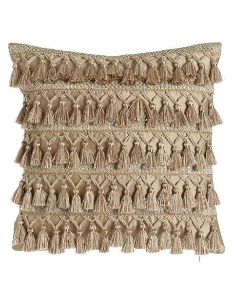 "Gwenneth Tassel-Front Pillow, 16""Sq."