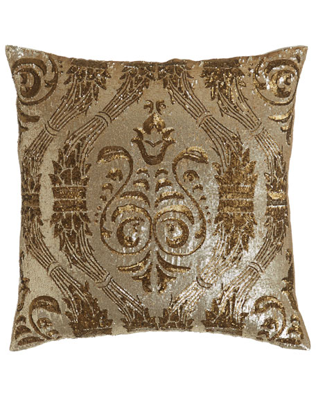 """Sequined Pillow, 22""""Sq."""