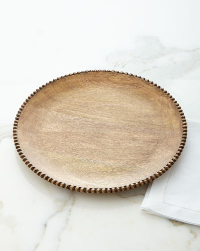 Wood Beaded Charger Plates, Set of 4