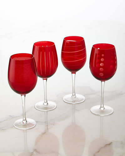 Cheers Ruby Wine Glasses, 4-Piece Set