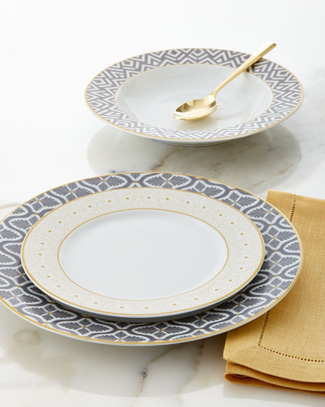 12 Piece Gray Yellow Dinnerware Service