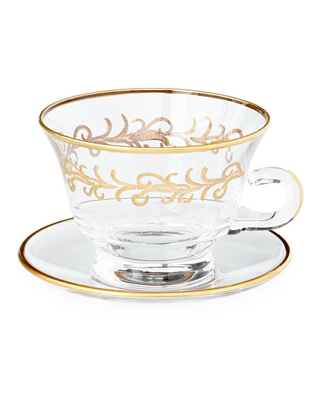 """Oro Bello"" Cups & Saucers, Set of 4"