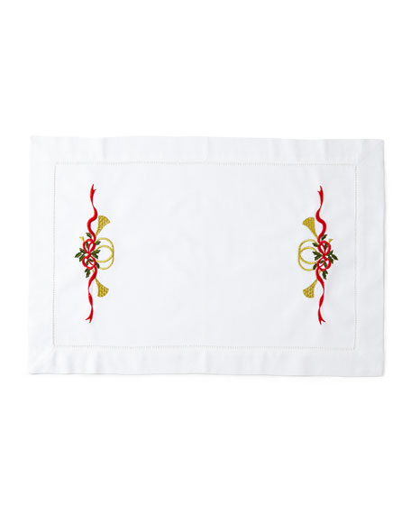 Christmas Horn Placemats, Set of 4