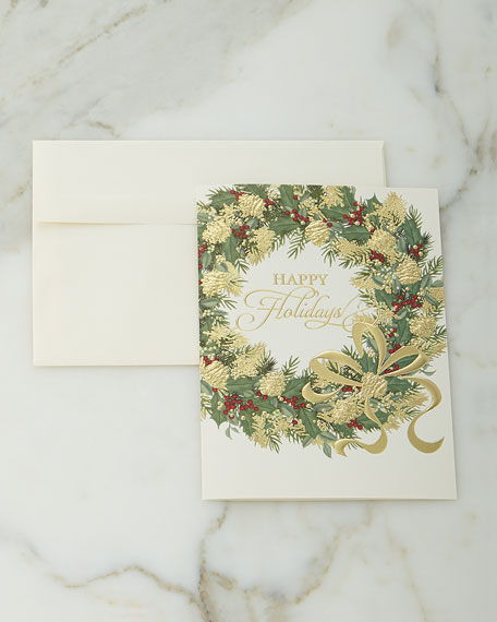 Carlson craft 75 illustrated wreath christmas cards with plain envelopes m4hsunfo