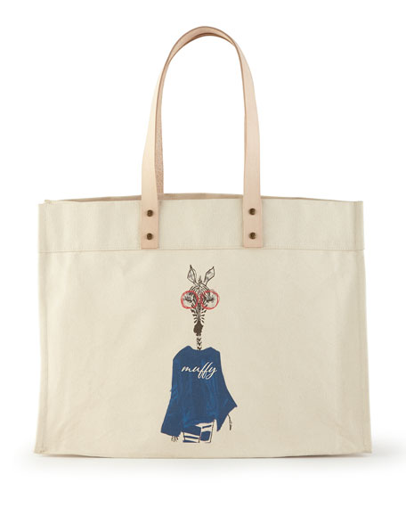 Muffy Navy Extra-Large Personalized Tote