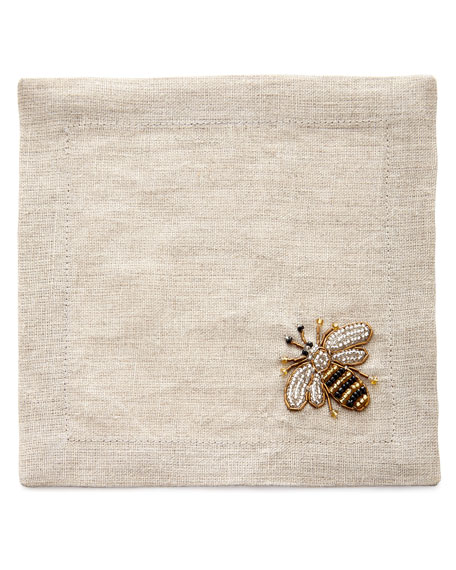 Striped Bee Cocktail Napkins, Set of 4