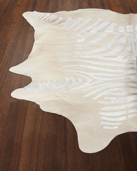 Tali Silver Zebra Rug, 5' x 7'