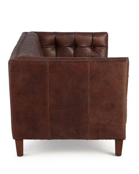 Sable Tufted Leather Sofa