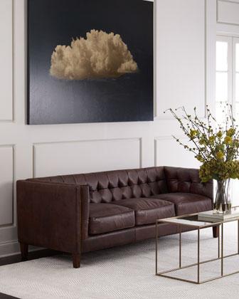 Sable Tufted Leather Sofa