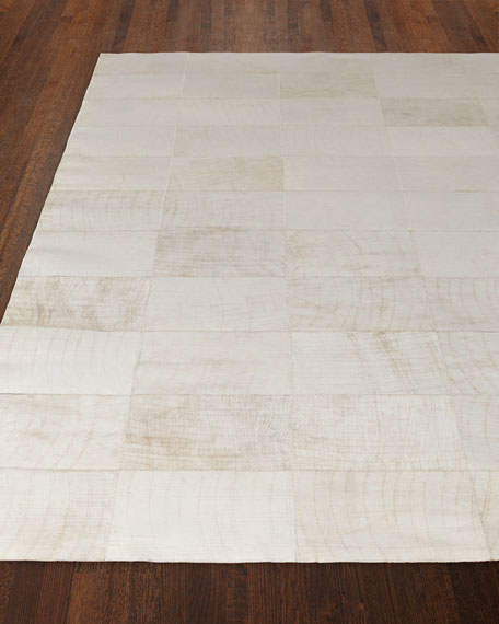 "Dooley Ivory Leather Rug, 9'6"" x 13'6"""