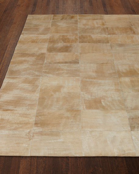 Dooley Beige Leather Rug, 5' x 8'