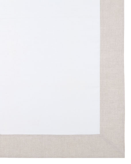 """Hamptons Beige Tablecloth, 70"""" x 128"""""""