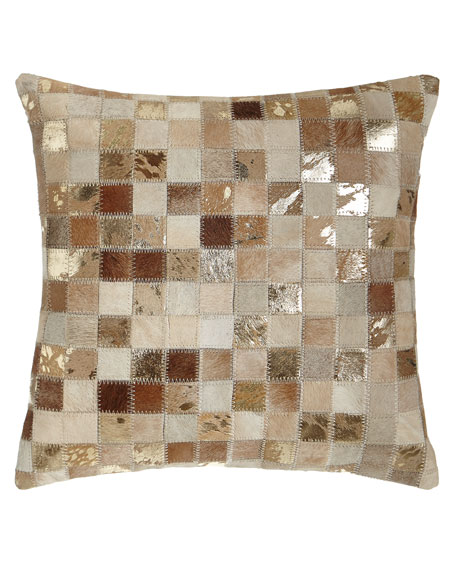 Beige Cowhide Patchwork Pillow