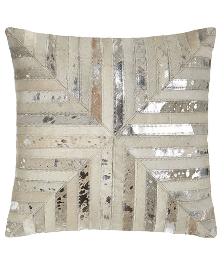 Silver Chevron-Patch Cowhide Pillow