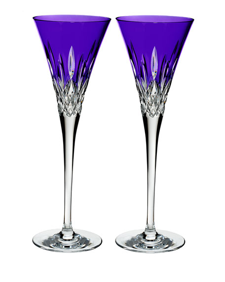 Lismore Pops Purple Toasting Flutes, Set of 2