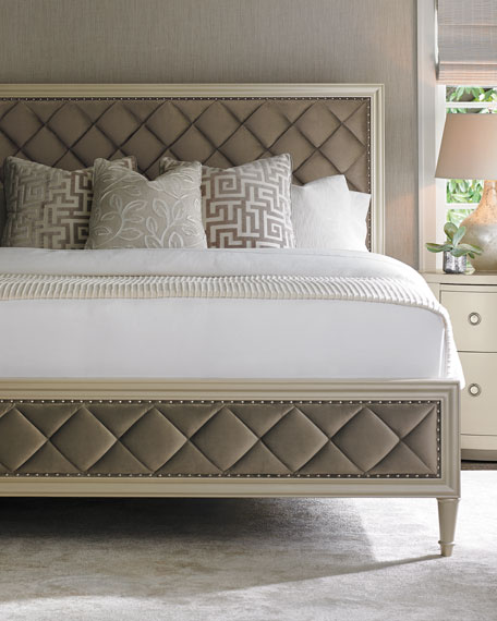 MIllet Diamond-Tufted California King Bed