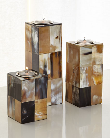 Caramel & Cream Candleholders, 3-Piece Set