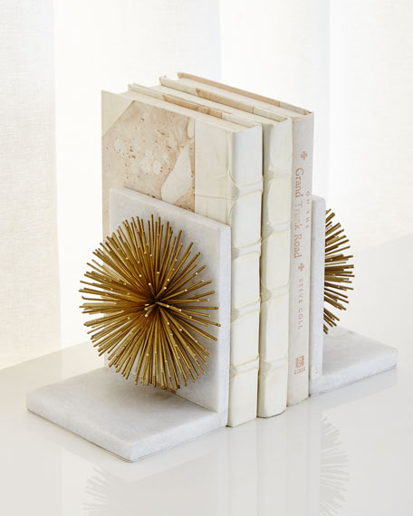 Gold Burst on White Marble Bookends