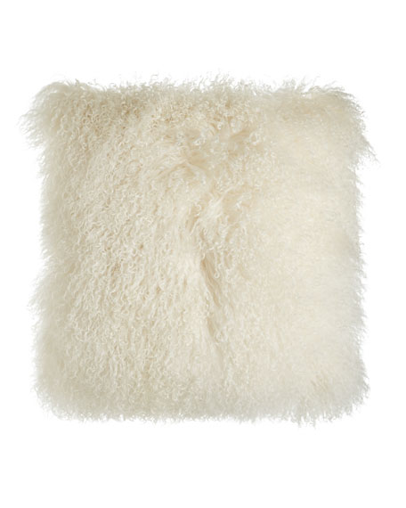 "Chani Lei Parker Tibetan Lamb Pillow, 22""Sq."