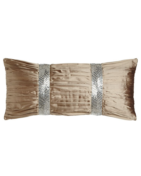 "Gretta Ruched Silk Pillow, 12"" x 26"""
