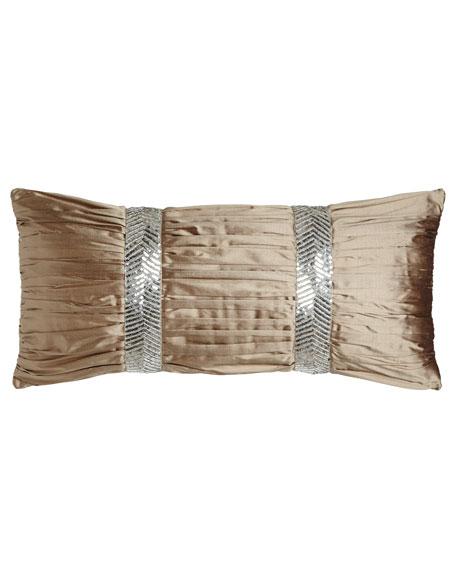 "Gretta Ruched Silk Pillow, 12"" x 26"""