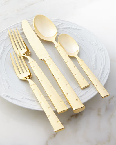 5-Piece Larabee Gold-Dot Flatware Place Setting
