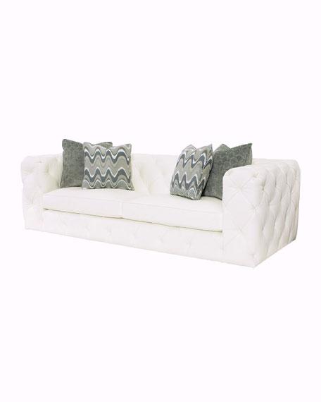 Keasling Tufted-Leather Sofa
