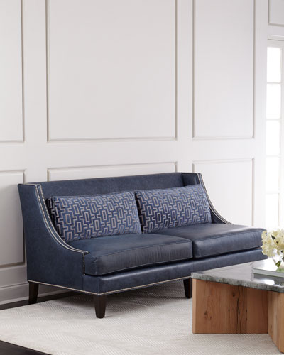 Colbie Navy Leather Sofa