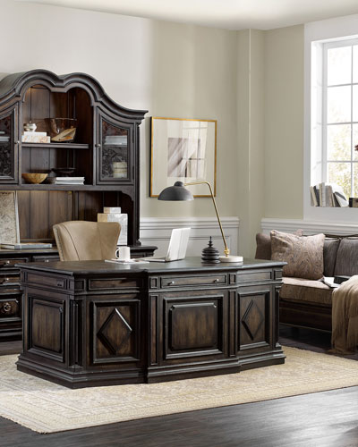 Designer home office furniture Black Wood Vetrano Executive Desk Ballard Designs Designer Home Office Desks At Horchow