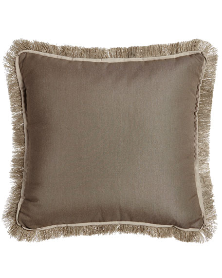 Fringed Taupe Outdoor Pillow
